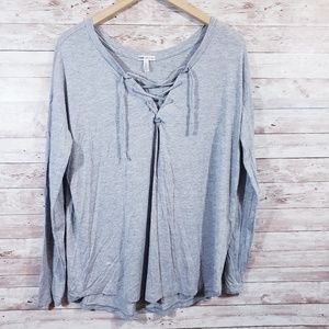 Victoria's Secret PINK Lace Up Gray Long Sleeve